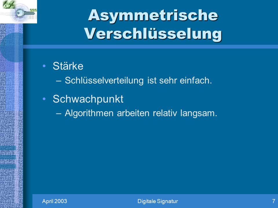 April 2003Digitale Signatur7 Asymmetrische Verschlüsselung Stärke –Schlüsselverteilung ist sehr einfach.