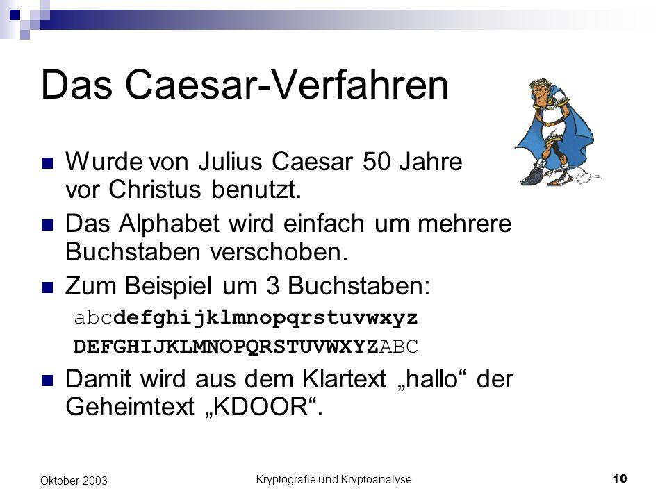 Kryptografie und Kryptoanalyse10 Oktober 2003 Das Caesar-Verfahren Wurde von Julius Caesar 50 Jahre vor Christus benutzt. Das Alphabet wird einfach um