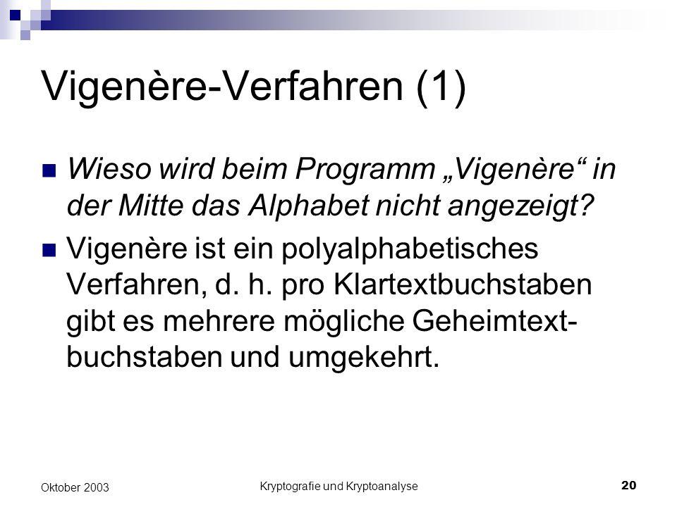 Kryptografie und Kryptoanalyse20 Oktober 2003 Vigenère-Verfahren (1) Wieso wird beim Programm Vigenère in der Mitte das Alphabet nicht angezeigt? Vige