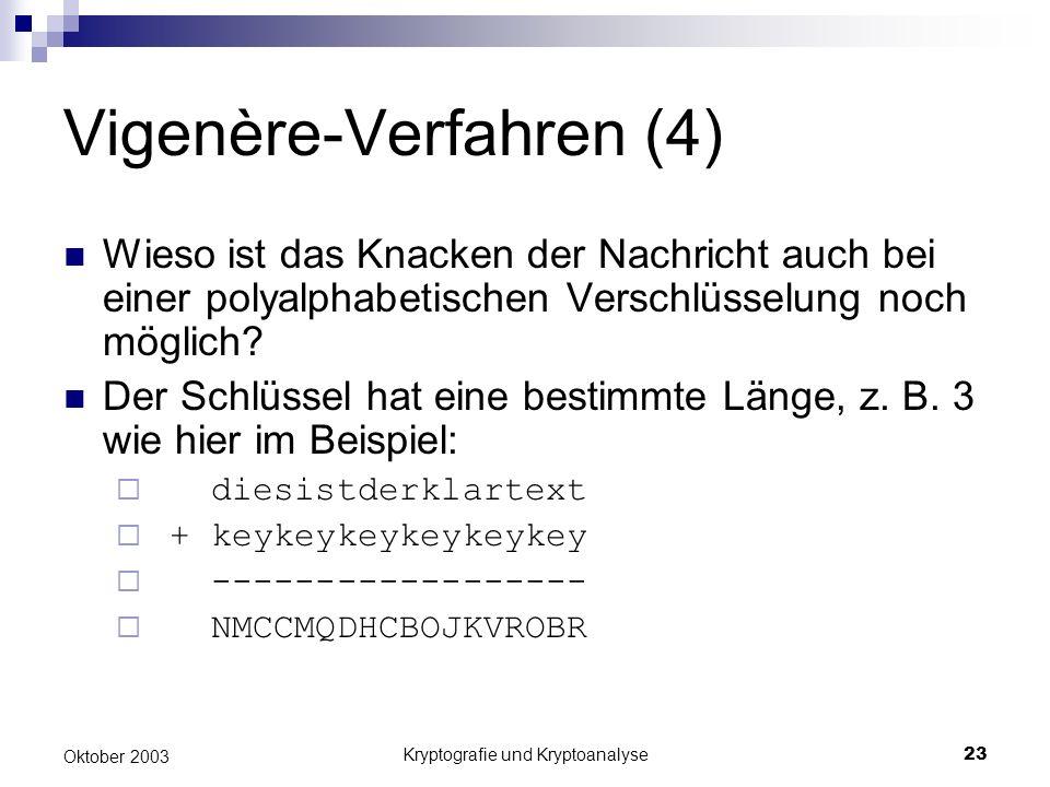 Kryptografie und Kryptoanalyse23 Oktober 2003 Vigenère-Verfahren (4) Wieso ist das Knacken der Nachricht auch bei einer polyalphabetischen Verschlüsse