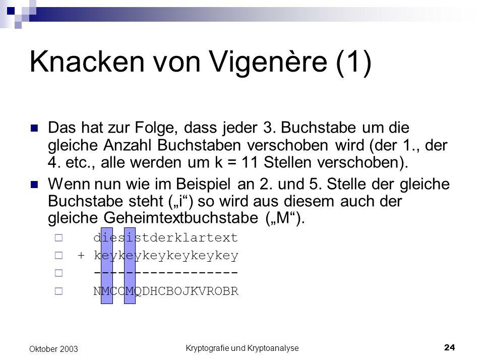 Kryptografie und Kryptoanalyse24 Oktober 2003 Knacken von Vigenère (1) Das hat zur Folge, dass jeder 3. Buchstabe um die gleiche Anzahl Buchstaben ver