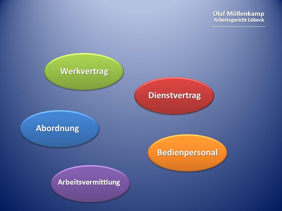 Olaf Möllenkamp Arbeitsgericht Lübeck Werkvertrag Dienstvertrag Abordnung Bedienpersonal Arbeitsvermittlung