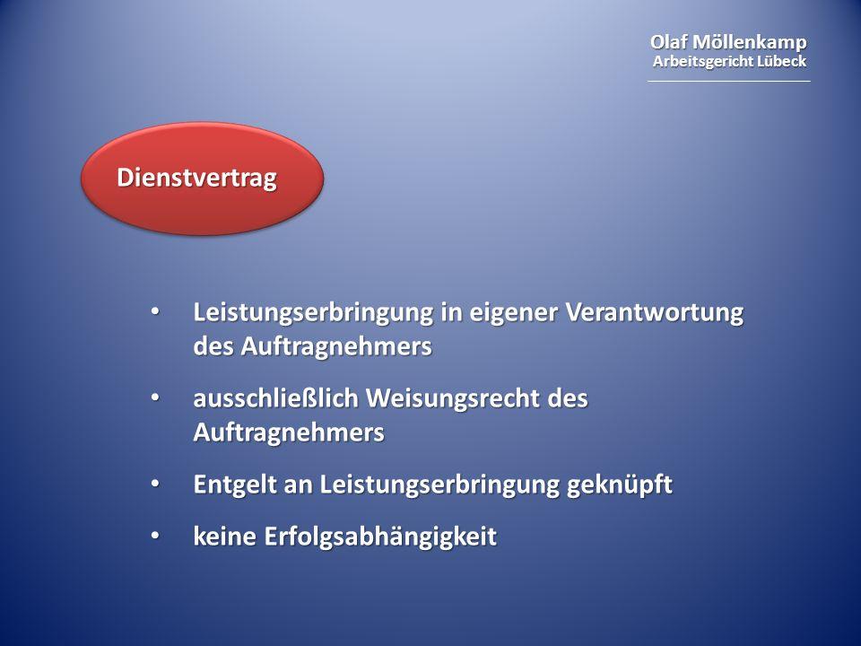 Olaf Möllenkamp Arbeitsgericht Lübeck Leistungserbringung in eigener Verantwortung des Auftragnehmers Leistungserbringung in eigener Verantwortung des