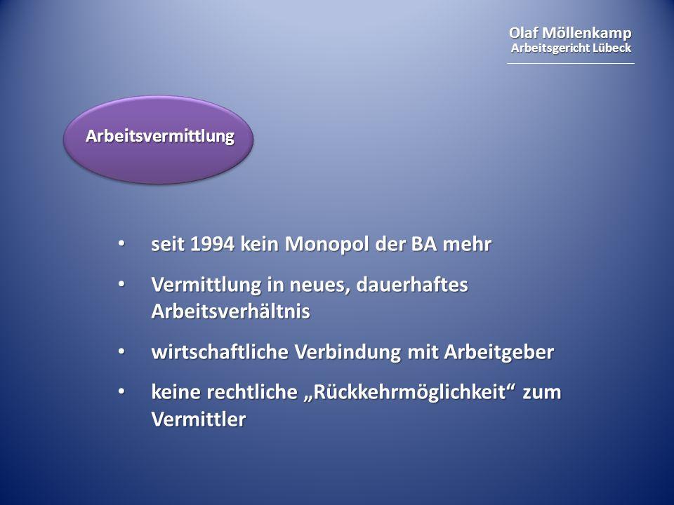 Olaf Möllenkamp Arbeitsgericht Lübeck seit 1994 kein Monopol der BA mehr seit 1994 kein Monopol der BA mehr Vermittlung in neues, dauerhaftes Arbeitsv