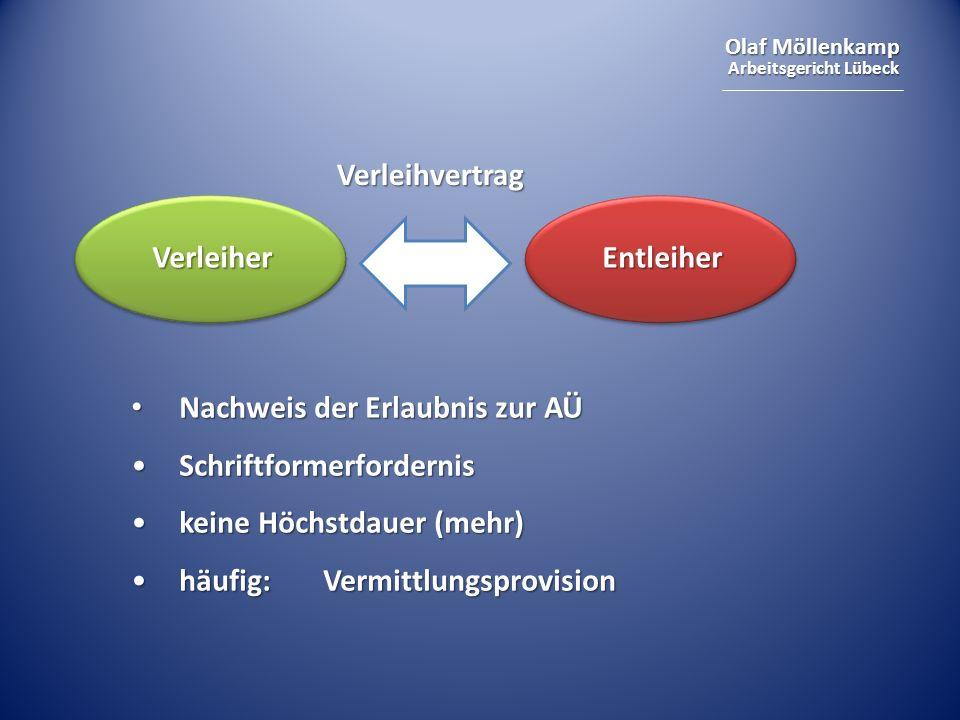 Olaf Möllenkamp Arbeitsgericht Lübeck Nachweis der Erlaubnis zur AÜ Nachweis der Erlaubnis zur AÜ SchriftformerfordernisSchriftformerfordernis keine H