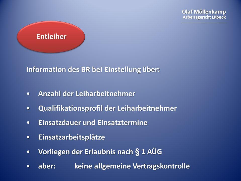 Olaf Möllenkamp Arbeitsgericht Lübeck Information des BR bei Einstellung über: Anzahl der LeiharbeitnehmerAnzahl der Leiharbeitnehmer Qualifikationspr