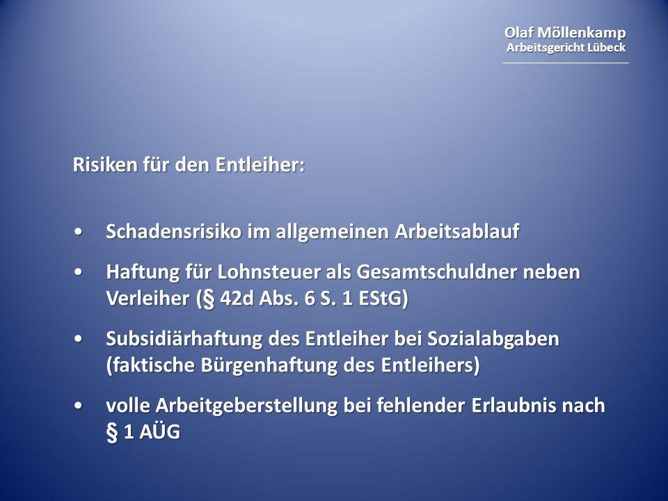 Olaf Möllenkamp Arbeitsgericht Lübeck Risiken für den Entleiher: Schadensrisiko im allgemeinen ArbeitsablaufSchadensrisiko im allgemeinen Arbeitsablau