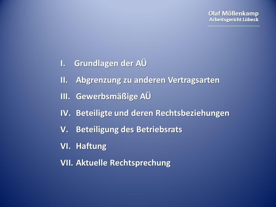 Olaf Möllenkamp Arbeitsgericht Lübeck I. Grundlagen der AÜ II.Abgrenzung zu anderen Vertragsarten III.Gewerbsmäßige AÜ IV.Beteiligte und deren Rechtsb
