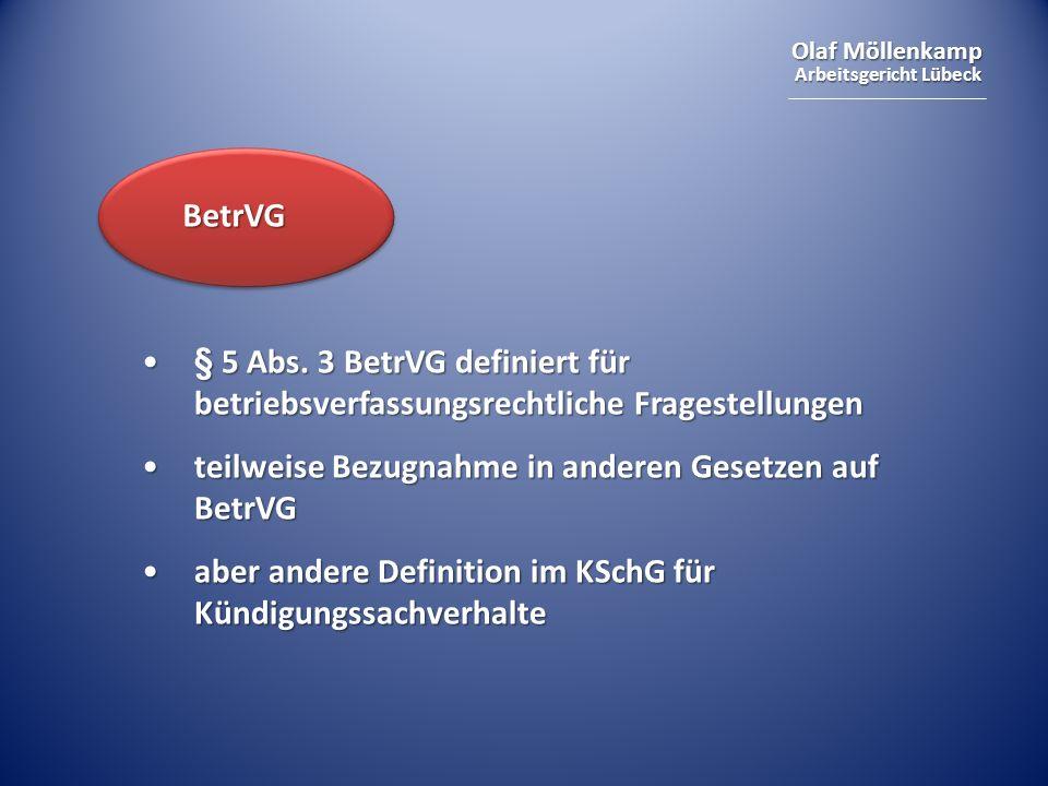 Olaf Möllenkamp Arbeitsgericht Lübeck BetrVG § 5 Abs. 3 BetrVG definiert für betriebsverfassungsrechtliche Fragestellungen§ 5 Abs. 3 BetrVG definiert