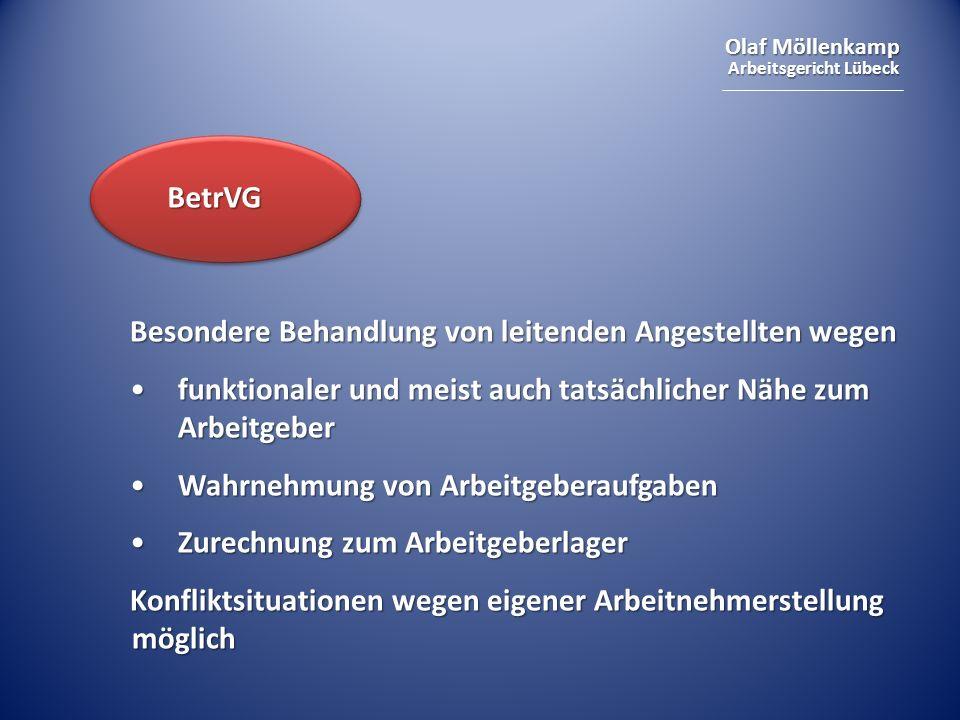 Olaf Möllenkamp Arbeitsgericht Lübeck BetrVG Besondere Behandlung von leitenden Angestellten wegen funktionaler und meist auch tatsächlicher Nähe zum