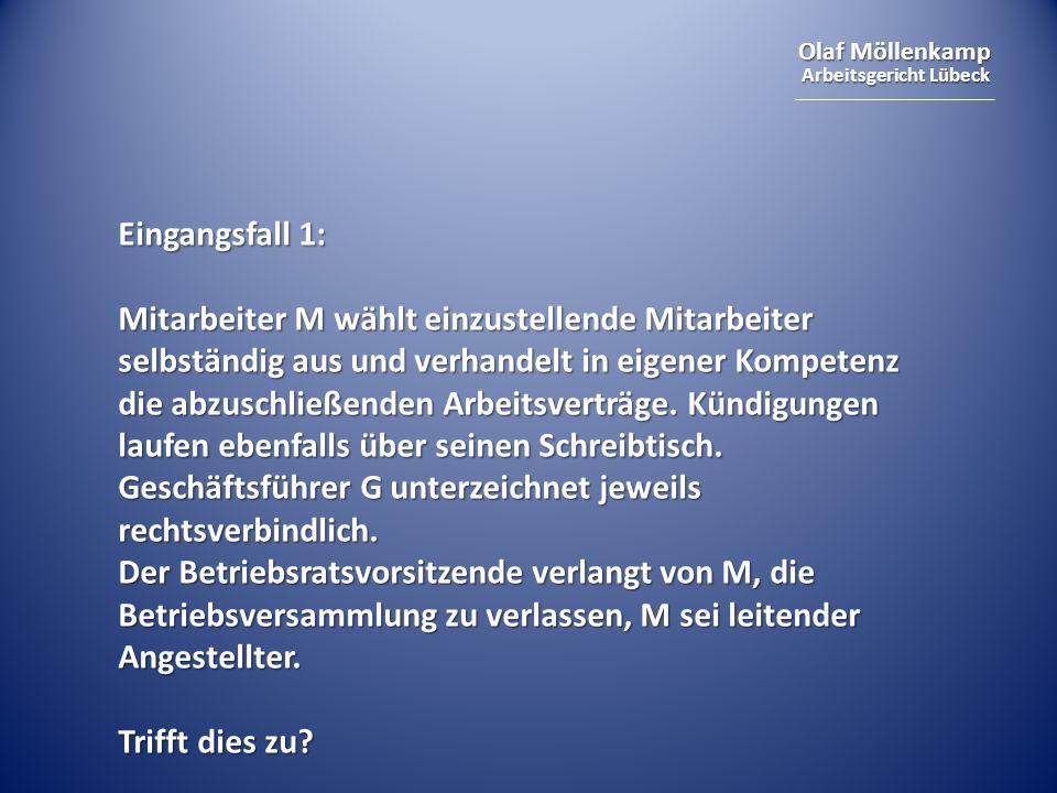 Olaf Möllenkamp Arbeitsgericht Lübeck Eingangsfall 1: Mitarbeiter M wählt einzustellende Mitarbeiter selbständig aus und verhandelt in eigener Kompete