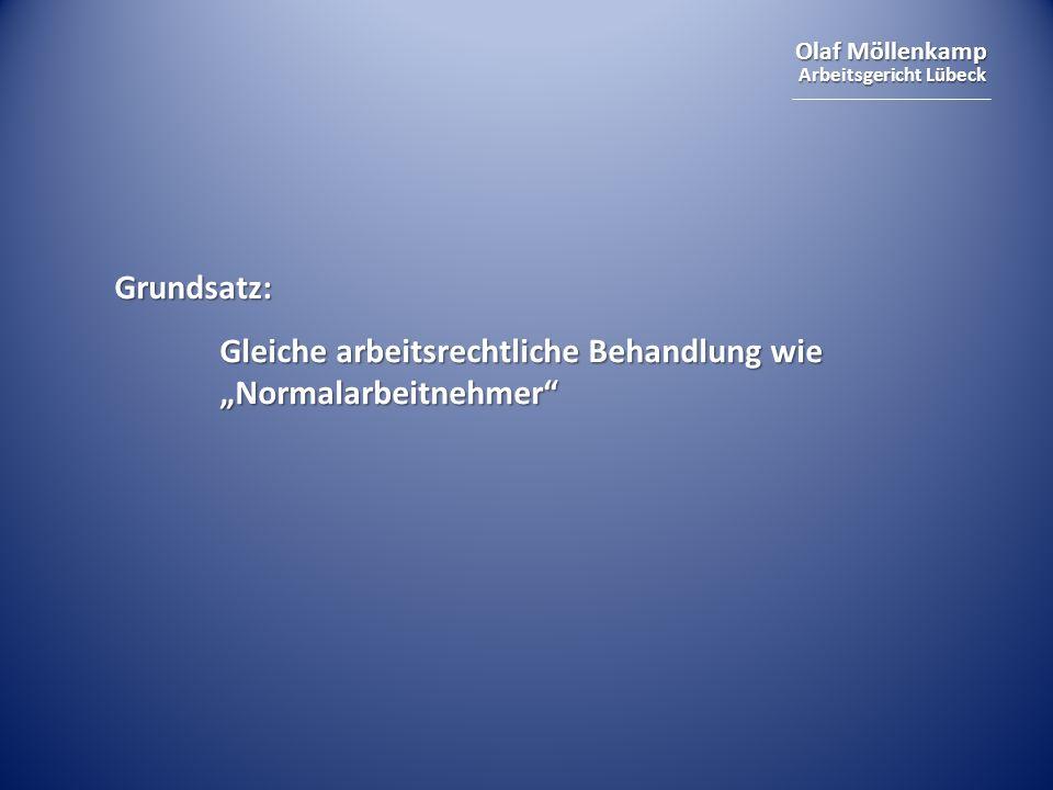 Olaf Möllenkamp Arbeitsgericht Lübeck Grundsatz: Gleiche arbeitsrechtliche Behandlung wie Normalarbeitnehmer