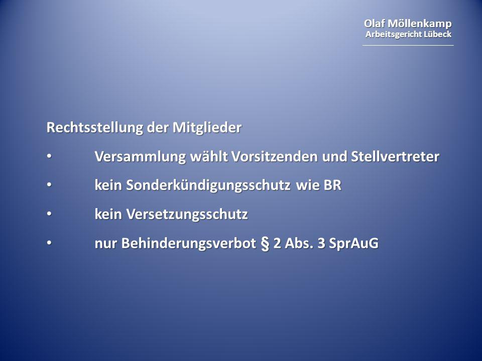 Olaf Möllenkamp Arbeitsgericht Lübeck Rechtsstellung der Mitglieder Versammlung wählt Vorsitzenden und Stellvertreter Versammlung wählt Vorsitzenden u
