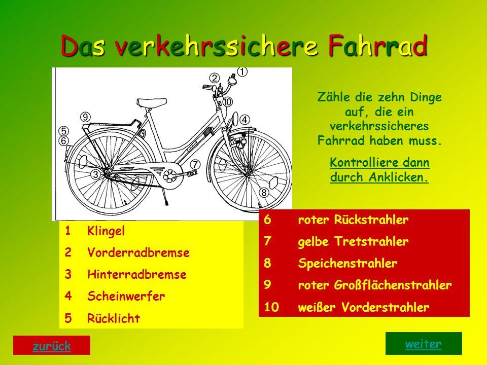 Das verkehrssichere FahrradDas verkehrssichere FahrradDas verkehrssichere FahrradDas verkehrssichere Fahrrad Zähle die zehn Dinge auf, die ein verkehrssicheres Fahrrad haben muss.