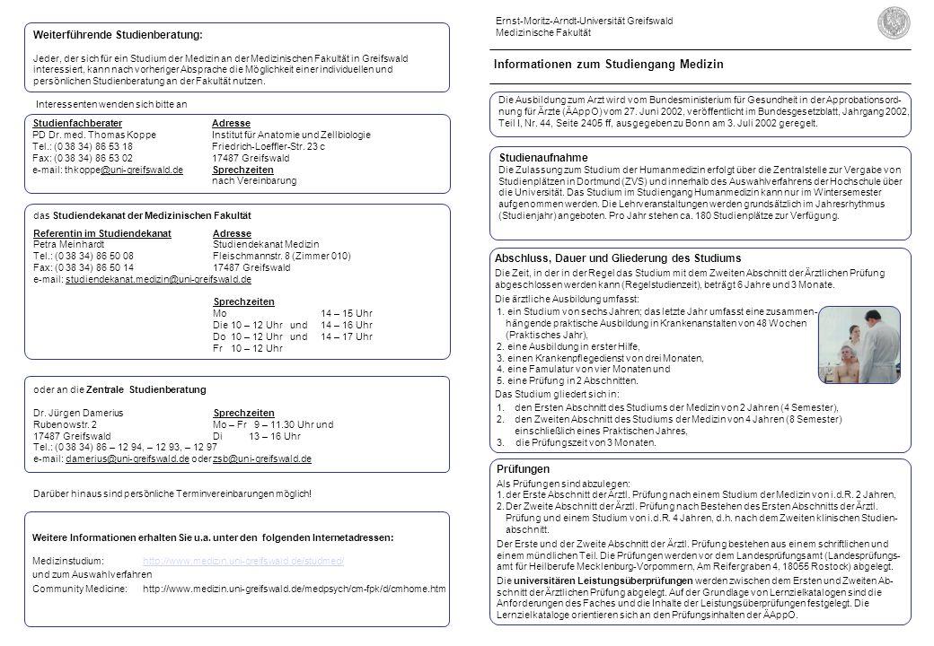 Abschluss, Dauer und Gliederung des Studiums Die Zeit, in der in der Regel das Studium mit dem Zweiten Abschnitt der Ärztlichen Prüfung abgeschlossen werden kann (Regelstudienzeit), beträgt 6 Jahre und 3 Monate.