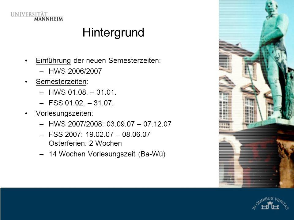 Hintergrund Einführung der neuen Semesterzeiten: –HWS 2006/2007 Semesterzeiten: –HWS 01.08. – 31.01. –FSS 01.02. – 31.07. Vorlesungszeiten: –HWS 2007/