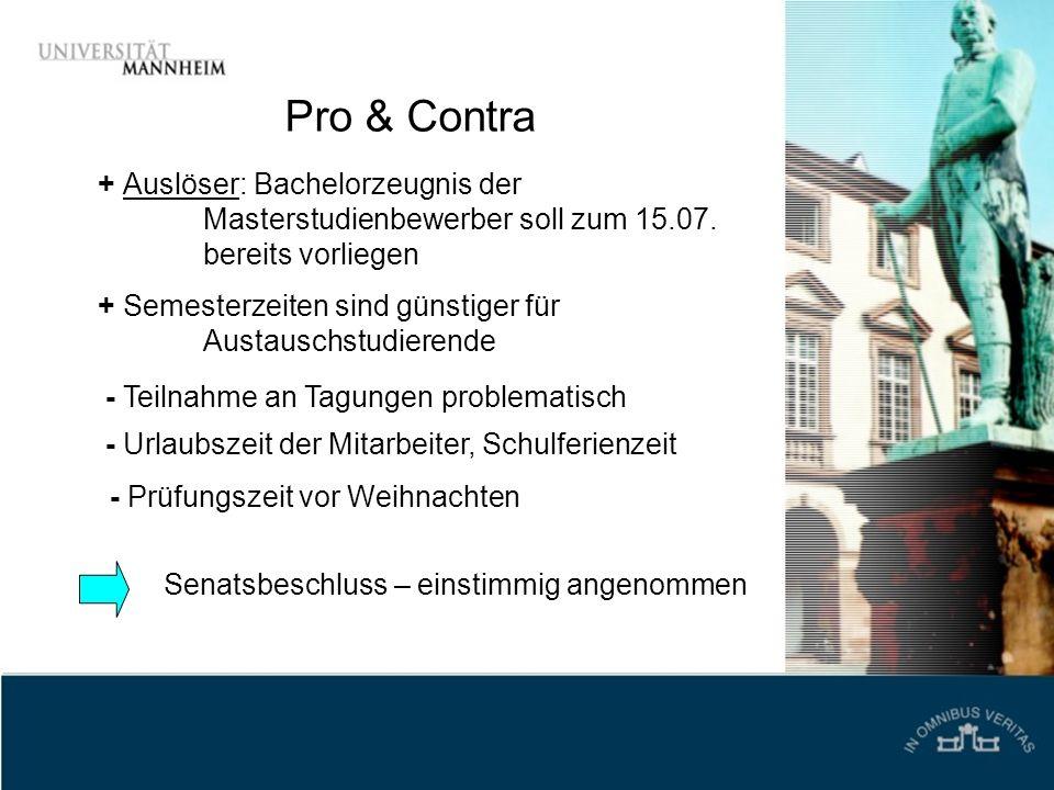 Pro & Contra + Auslöser: Bachelorzeugnis der Masterstudienbewerber soll zum 15.07. bereits vorliegen + Semesterzeiten sind günstiger für Austauschstud