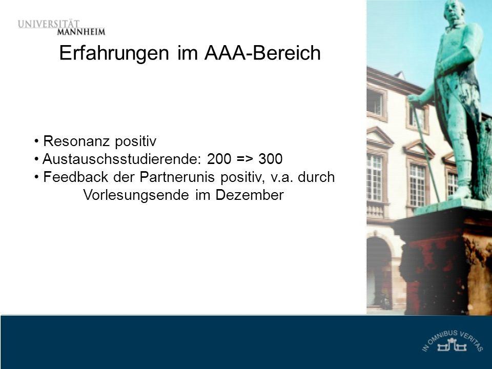 Erfahrungen im AAA-Bereich Resonanz positiv Austauschsstudierende: 200 => 300 Feedback der Partnerunis positiv, v.a. durch Vorlesungsende im Dezember