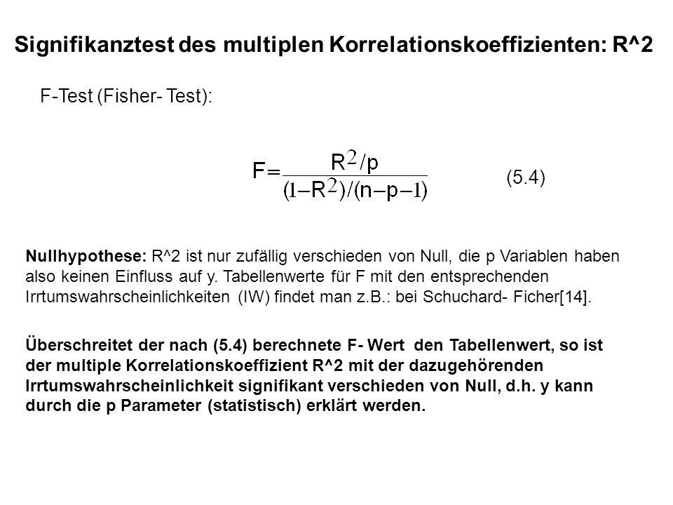 Überschreitet der nach (5.4) berechnete F- Wert den Tabellenwert, so ist der multiple Korrelationskoeffizient R^2 mit der dazugehörenden Irrtumswahrsc