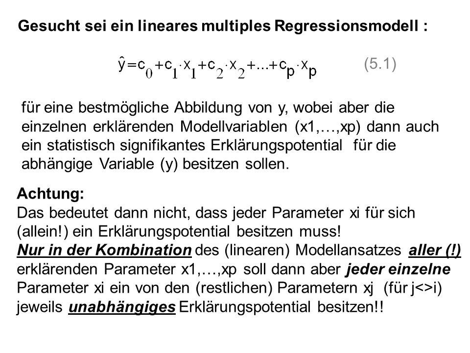Gesucht sei ein lineares multiples Regressionsmodell : (5.1) für eine bestmögliche Abbildung von y, wobei aber die einzelnen erklärenden Modellvariabl