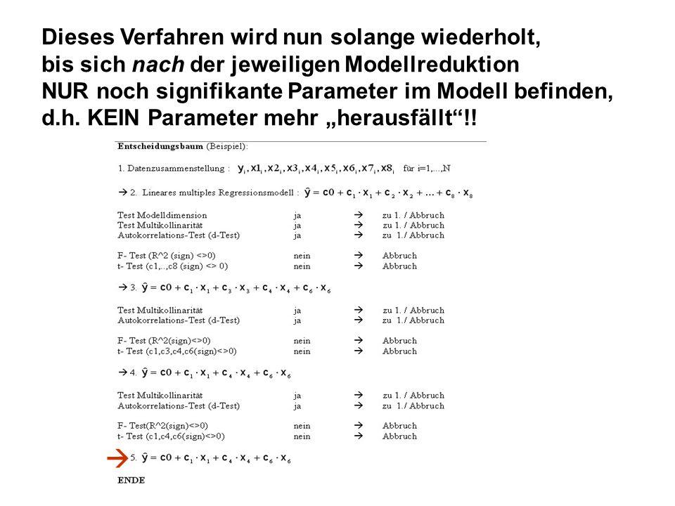 Dieses Verfahren wird nun solange wiederholt, bis sich nach der jeweiligen Modellreduktion NUR noch signifikante Parameter im Modell befinden, d.h. KE