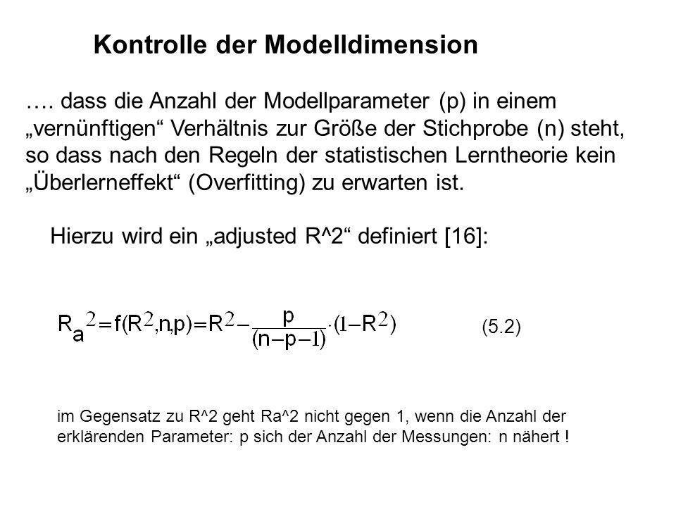Kontrolle der Modelldimension …. dass die Anzahl der Modellparameter (p) in einem vernünftigen Verhältnis zur Größe der Stichprobe (n) steht, so dass