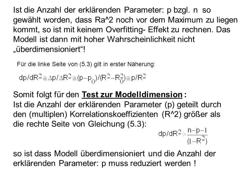 Ist die Anzahl der erklärenden Parameter: p bzgl. n so gewählt worden, dass Ra^2 noch vor dem Maximum zu liegen kommt, so ist mit keinem Overfitting-