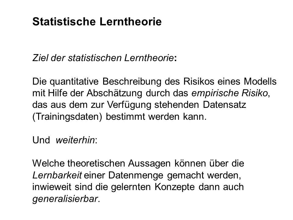 Statistische Lerntheorie Ziel der statistischen Lerntheorie: Die quantitative Beschreibung des Risikos eines Modells mit Hilfe der Abschätzung durch d