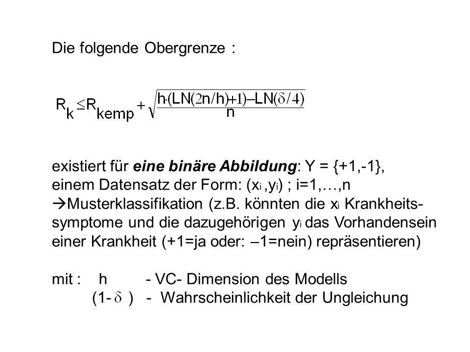 Die folgende Obergrenze : existiert f ür eine binäre Abbildung : Y = {+1,-1}, einem Datensatz der Form: (x i,y i ) ; i=1,…,n Musterklassifikation (z.B