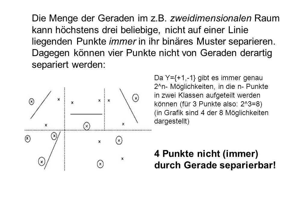 Die Menge der Geraden im z.B. zweidimensionalen Raum kann höchstens drei beliebige, nicht auf einer Linie liegenden Punkte immer in ihr binäres Muster