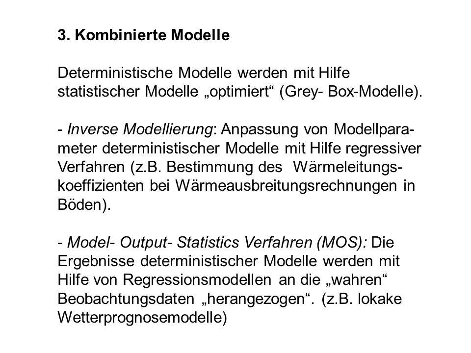3. Kombinierte Modelle Deterministische Modelle werden mit Hilfe statistischer Modelle optimiert (Grey- Box-Modelle). - Inverse Modellierung: Anpassun