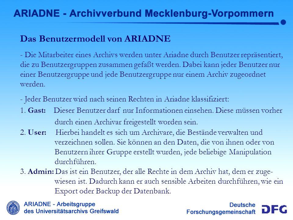 Benutzermodell Das Benutzermodell von ARIADNE - Die Mitarbeiter eines Archivs werden unter Ariadne durch Benutzer repräsentiert, die zu Benutzergruppe