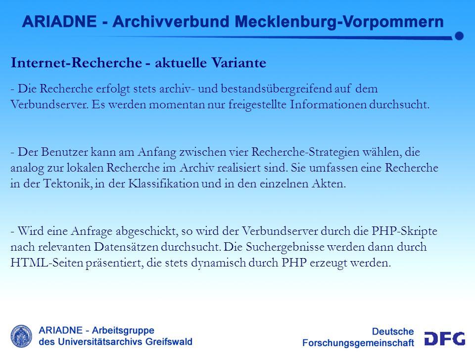 Internet-Recherche aktuell Internet-Recherche - aktuelle Variante - Die Recherche erfolgt stets archiv- und bestandsübergreifend auf dem Verbundserver
