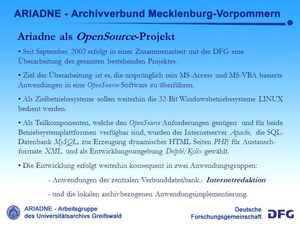 Ariadne als OpenSource-Projekt Seit September 2002 erfolgt in einer Zusammenarbeit mit der DFG eine Überarbeitung des gesamten bestehenden Projektes.