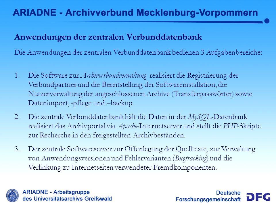 Anwendungen der zentralen Verbunddatenbank Die Anwendungen der zentralen Verbunddatenbank bedienen 3 Aufgabenbereiche: 1.Die Software zur Archivverbun