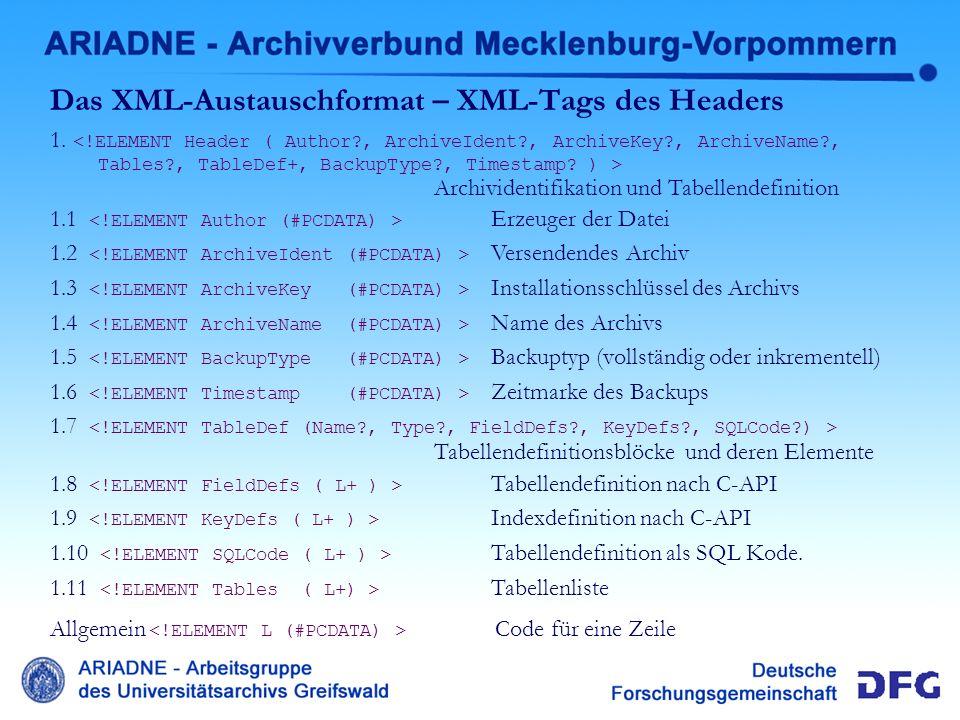 Das XML-Austauschformat – XML-Tags des Headers 1. Archividentifikation und Tabellendefinition 1.1 Erzeuger der Datei 1.2 Versendendes Archiv 1.3 Insta