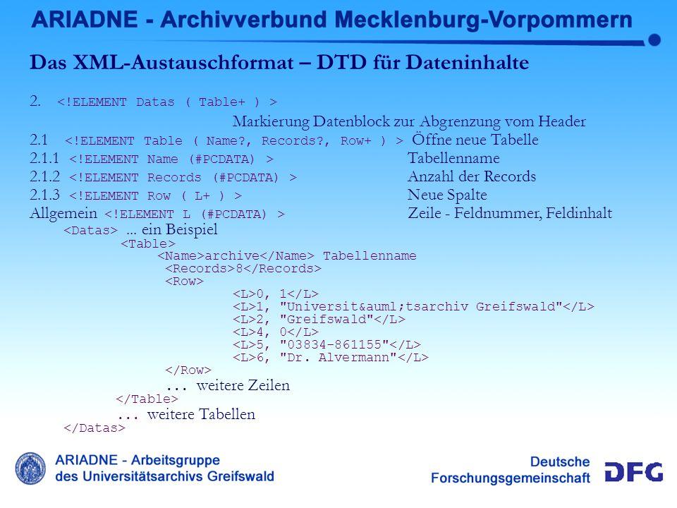 Das XML-Austauschformat – DTD für Dateninhalte 2. Markierung Datenblock zur Abgrenzung vom Header 2.1 Öffne neue Tabelle 2.1.1 Tabellenname 2.1.2 Anza