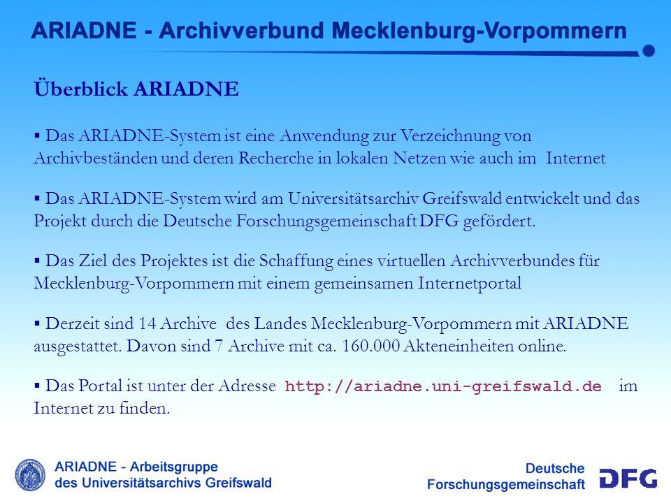 Heirarchischer Aufbau ARIADNE-Archivverbund mit den Ebenen : regionale Archive, deren zentraler Bestandsnachweis, den jeweiligen Einzelbeständen, mit und ohne Klassifikation und Akteneinheiten innerhalb eines Bestandes.
