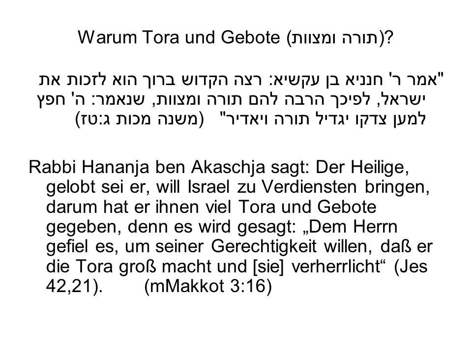 Warum Tora und Gebote (תורה ומצוות)?