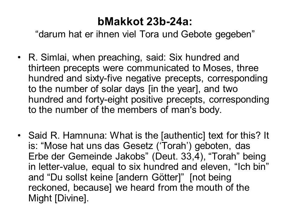 bMakkot 23b-24a:darum hat er ihnen viel Tora und Gebote gegeben David came and reduced them to eleven [principles], as it is written: Ein Psalm Davids.