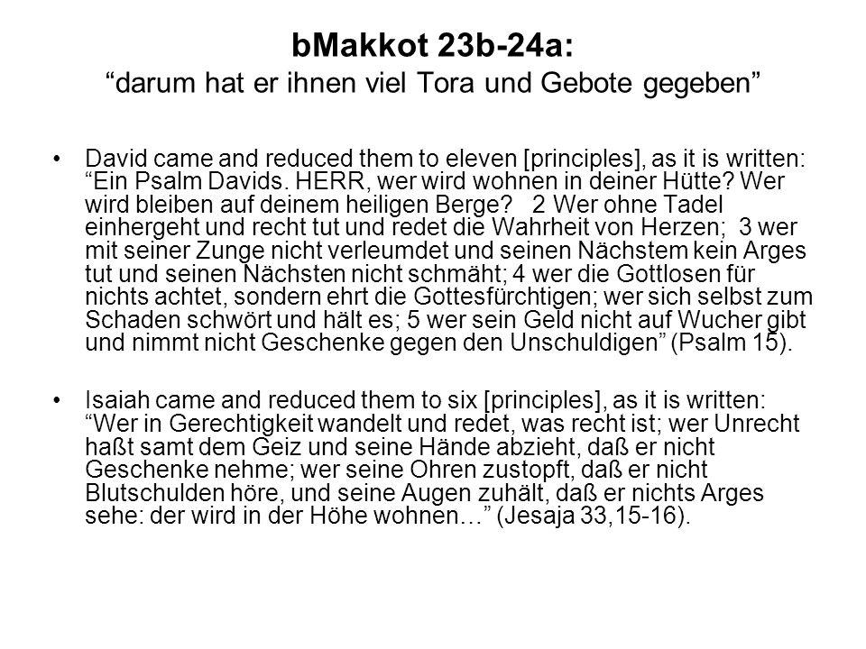 bMakkot 23b-24a:darum hat er ihnen viel Tora und Gebote gegeben David came and reduced them to eleven [principles], as it is written: Ein Psalm Davids