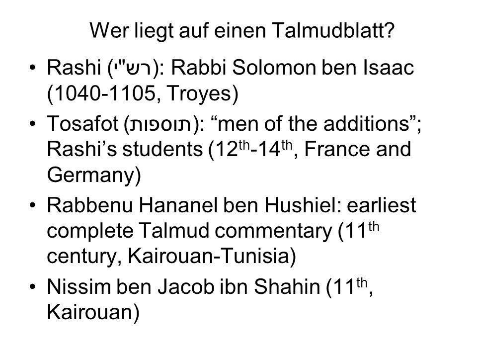 Wer liegt auf einen Talmudblatt.