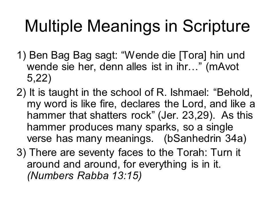 Multiple Meanings in Scripture 1) Ben Bag Bag sagt: Wende die [Tora] hin und wende sie her, denn alles ist in ihr… (mAvot 5,22) 2) It is taught in the