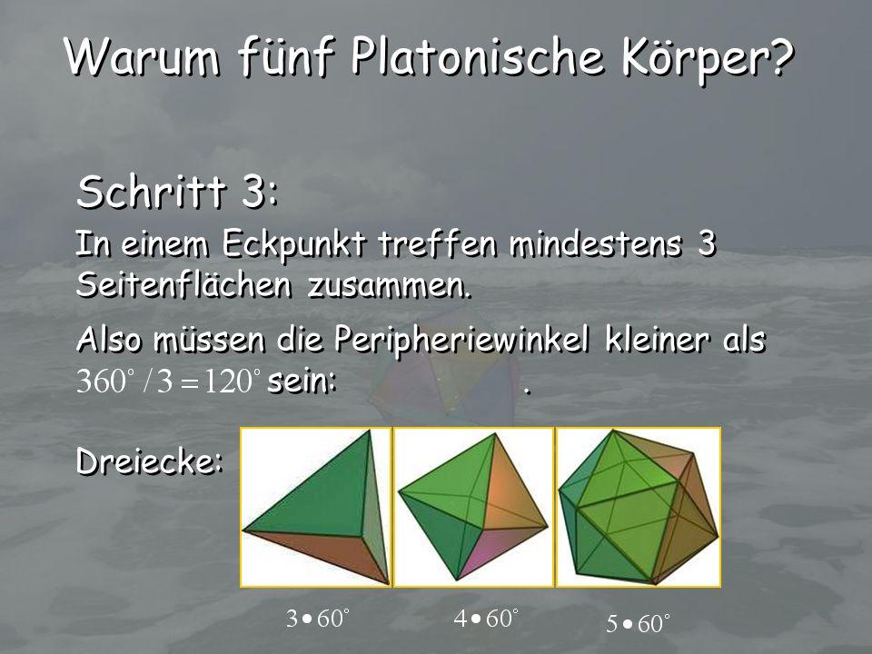 Schritt 3: In einem Eckpunkt treffen mindestens 3 Seitenflächen zusammen. In einem Eckpunkt treffen mindestens 3 Seitenflächen zusammen. Also müssen d