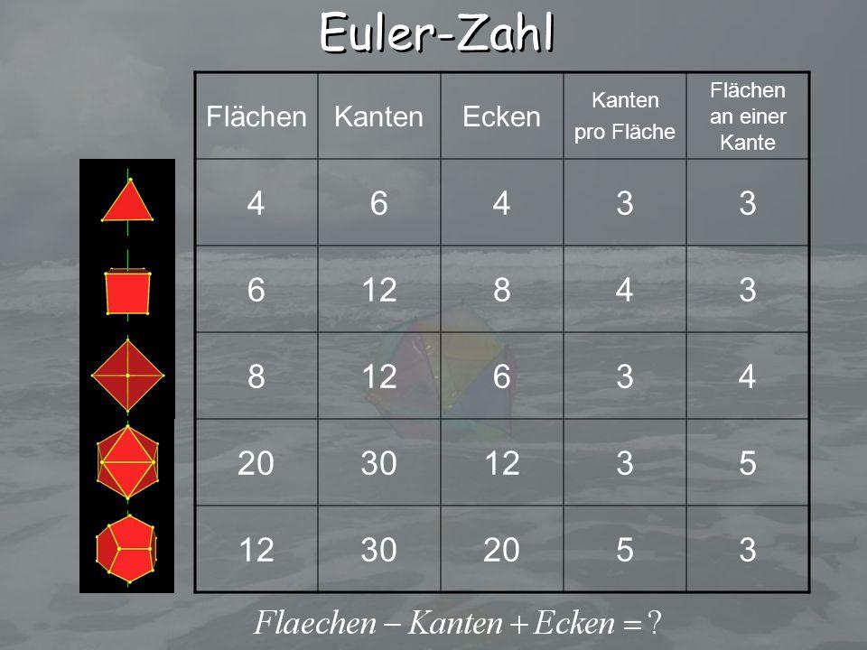 FlächenKantenEcken Kanten pro Fläche Flächen an einer Kante 46433 612843 8 634 20301235 302053 Euler-Zahl