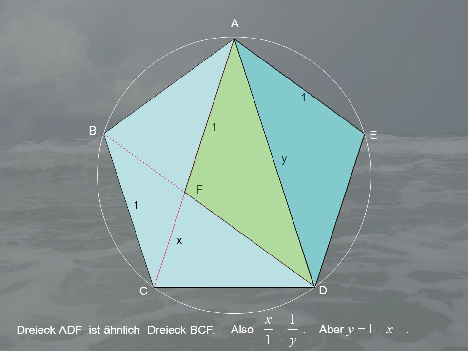 1 1 y x 1 A B C D E Dreieck ADF ist ähnlich Dreieck BCF. F Also.Aber.