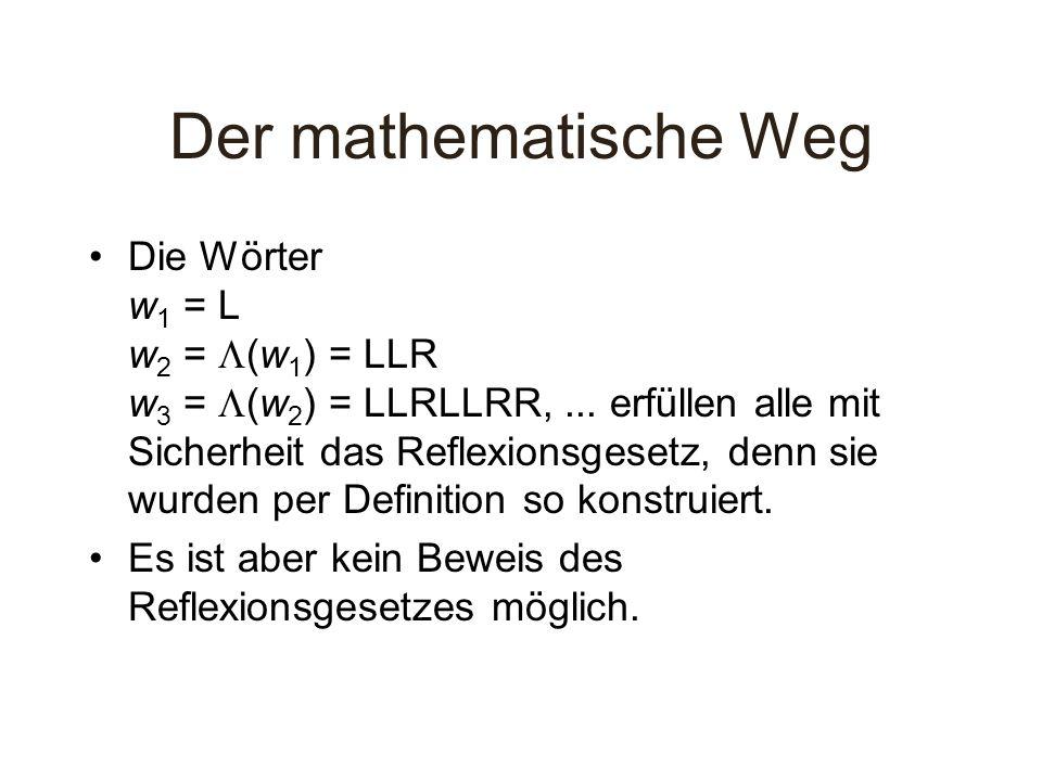 Der mathematische Weg Die Wörter w 1 = L w 2 = (w 1 ) = LLR w 3 = (w 2 ) = LLRLLRR,... erfüllen alle mit Sicherheit das Reflexionsgesetz, denn sie wur