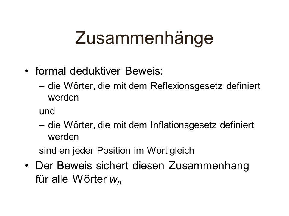 Zusammenhänge formal deduktiver Beweis: –die Wörter, die mit dem Reflexionsgesetz definiert werden und –die Wörter, die mit dem Inflationsgesetz defin