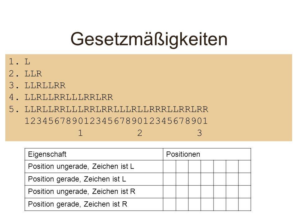 Gesetzmäßigkeiten 1.L 2.LLR 3.LLRLLRR 4.LLRLLRRLLLRRLRR 5.LLRLLRRLLLRRLRRLLLRLLRRRLLRRLRR 1234567890123456789012345678901 1 2 3 EigenschaftPositionen