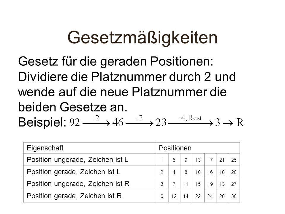 Gesetzmäßigkeiten Gesetz für die geraden Positionen: Dividiere die Platznummer durch 2 und wende auf die neue Platznummer die beiden Gesetze an. Beisp